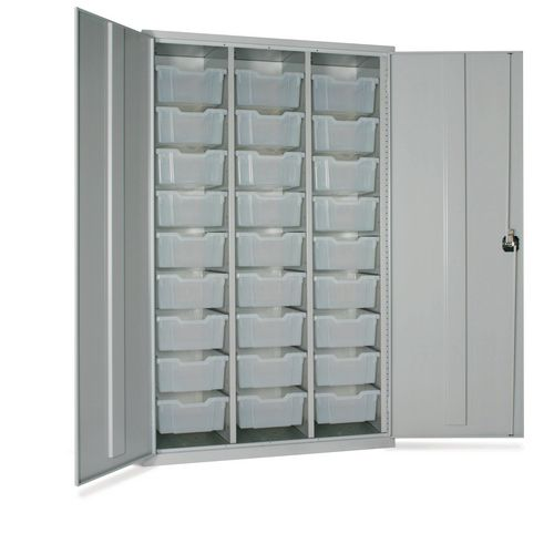 Lockable Treble Cupboard With Runners And 27 Transparent Deep Trays