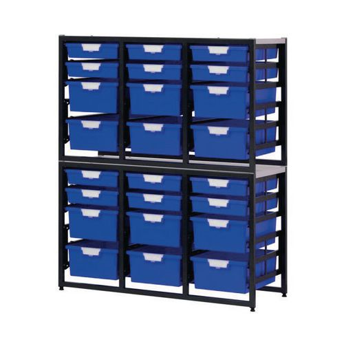 Tray Unit Dark Grey Frame  12 Shallow And 12 Deep Trays Static A4 Blue H1330xW1080xD455mm