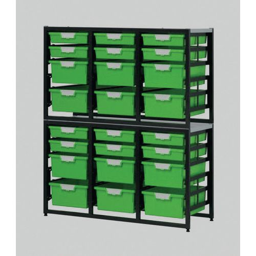 Tray Unit Dark Grey Frame  12 Shallow And 12 Deep Trays Static A4 Green H1330xW1080xD455mm