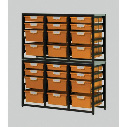 Tray Unit Dark Grey Frame  12 Shallow And 12 Deep Trays Static A4 Yellow H1330xW1080xD455mm