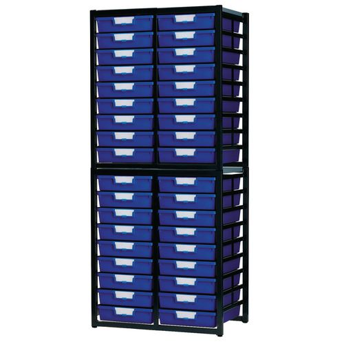 Tray Unit Dark Grey Frame  36 Shallow Trays Static A4 Blue H1910xW750xD455mm