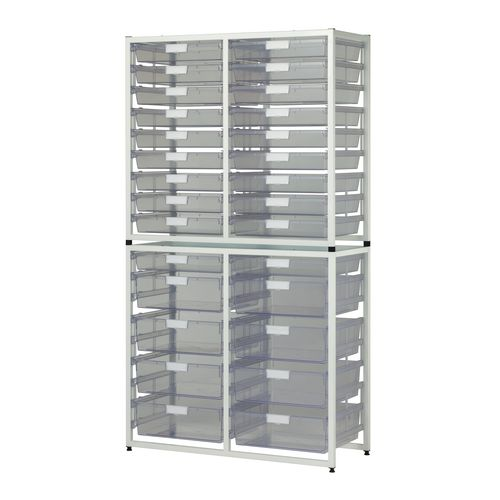 Tray Unit White Frame  20 Shallow And 8 Deep Trays Static A3 Clear H1910xW1035xD455mm