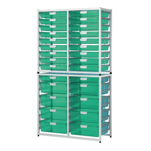 Tray Unit White Frame  20 Shallow And 8 Deep Trays Static A3 Tinted Green H1910xW1035xD455mm