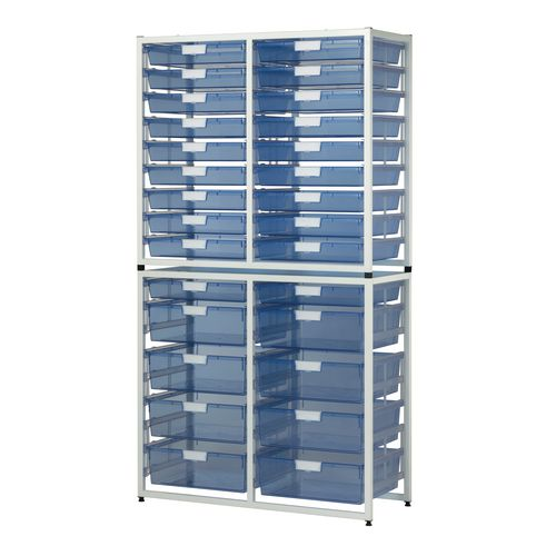 Tray Unit White Frame  20 Shallow And 8 Deep Trays Static A3 Tinted Blue H1910xW1035xD455mm