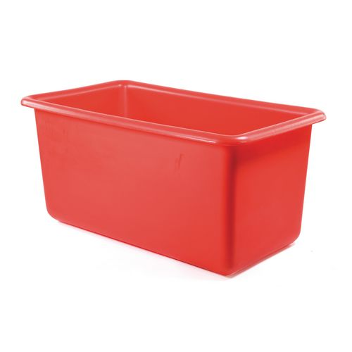Rectangular Food Grade Plastic Storage Box With Tapered Sides 200L L825xW480xH680mm Red