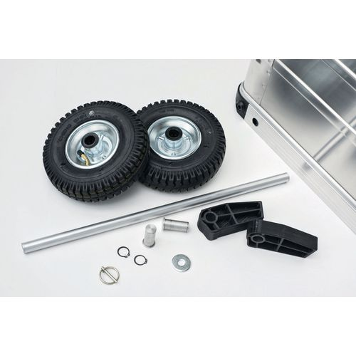 Factory Fitted 220mm Off Road Wheels &Support Feet For 105L Mobile Aluminium Transit