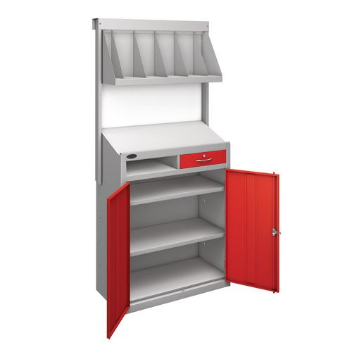 Workstation With Book Shelf With Red Doors  H1970mmxW965mmxD460mm