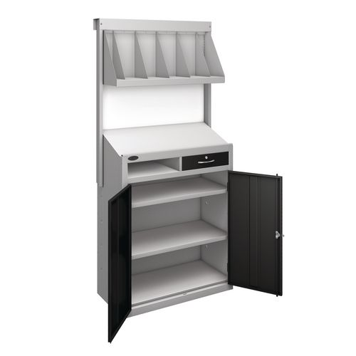 Workstation With Book Shelf With Vlack Doors  H1970mmxW965mmxD460mm