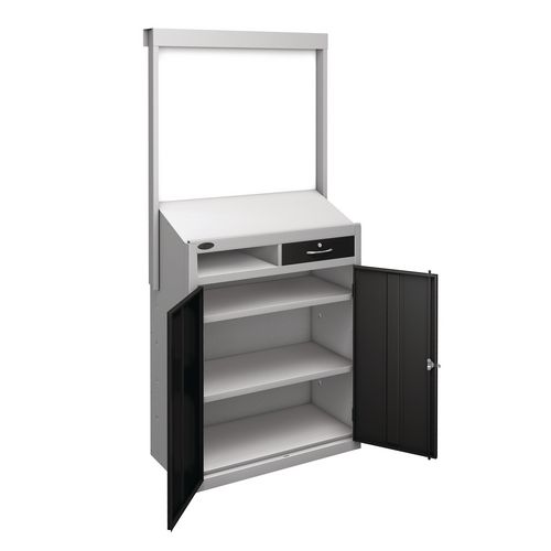 Information Workstation Whiteboard Sloping Top Drawer Cupboard With Black Doors H x W x D mm: 1980 x 965 x 475