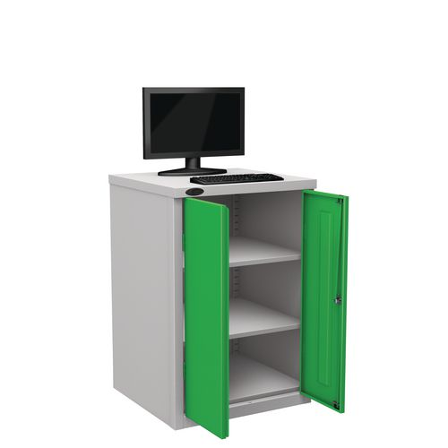 Flat Top Heavy Duty Computer Cupboard With Green Doors H950mmxW650mmxD620mm