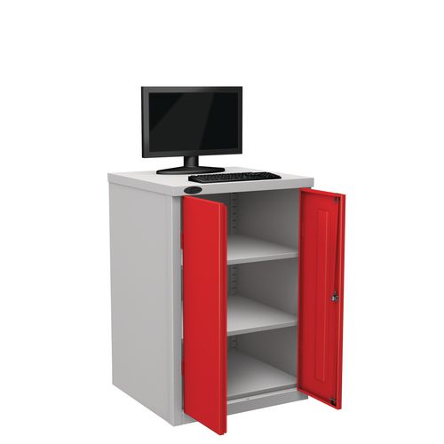 Flat Top Heavy Duty Computer Cupboard With Red Doors H950mmxW650mmxD620mm