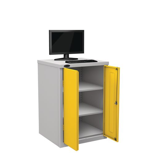 Flat Top Heavy Duty Computer Cupboard With Yellow Doors H950mmxW650mmxD620mm