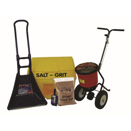 Small Business Kit Includes: 200L Grit Bin 6 Bags 25Kg Brown Salt Salt Spreader Scoop And S