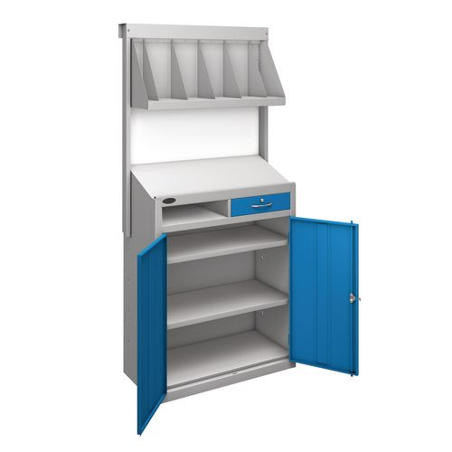 Workstation With Book Shelf With Blue Doors H1970mmxW965mmxD460mm