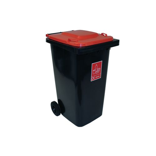 Refuse Container 240 Litre 2 Wheeled Colour Grey With Red Lid
