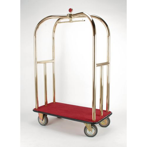 Crown Luggage Trolley Brass With Grey Carpeting