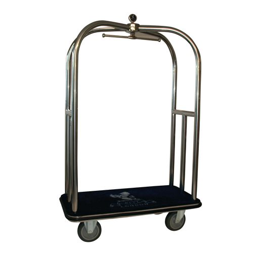 Crown Luggage Trolley Stainless Steel With Black Carpeting