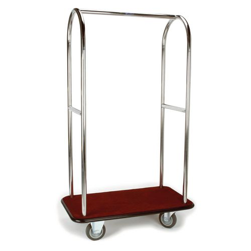 Stainless Steel Bellmans Trolley With Blue Carpeting