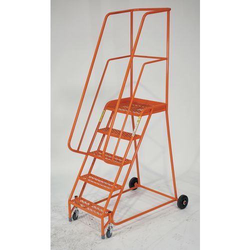 5 Tread Mobile Step With Expanded Mild Steel Mesh Treads Orange
