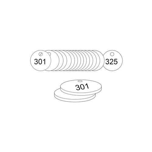 33mm Dia. Traffolite Tags White (301 To 325)
