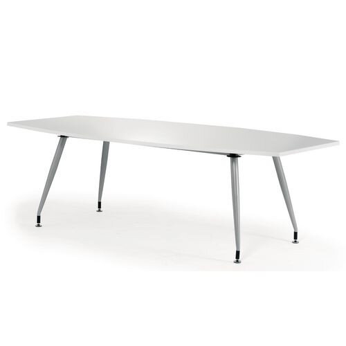 Boat Shaped High Gloss Boardroom Table W2400xD1200xH750mm White