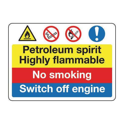 Sign Petroleum Spirit No Smoking 600x450 Polycarb