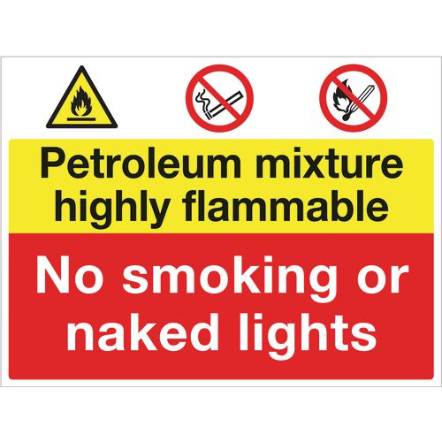 Sign Petroleum Mixture Highly Flammable 600x450 Polycarb