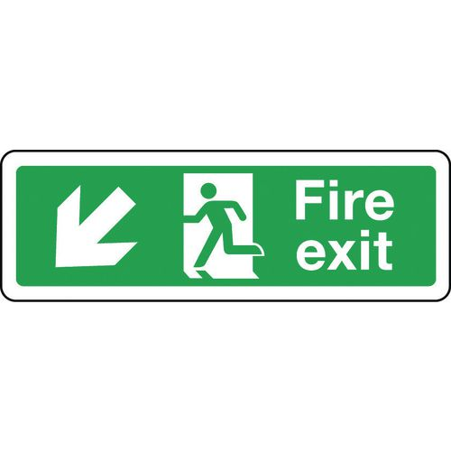 Sign Fire Exit Arrow Down Left 300x100 Polycarb