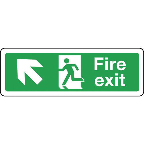 Sign Fire Exit Arrow Up Left 600x200 Polycarb