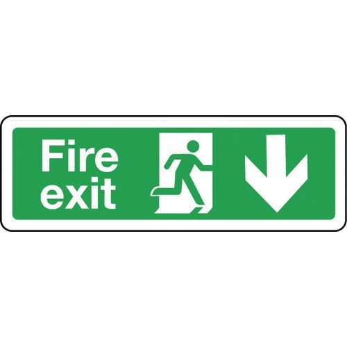 Sign Fire Exit Arrow Down 600x200 Polycarb