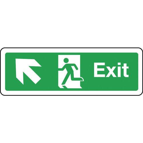 Sign Exit Arrow Up Left 300x100 Polycarb