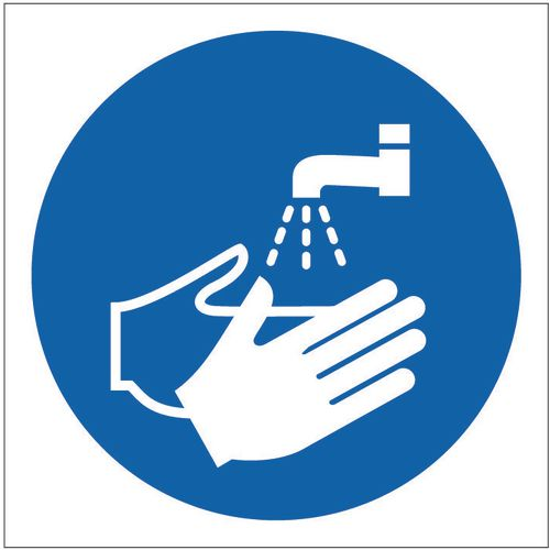 Sign Wash Hands Pictorial 100x100 Polycarb