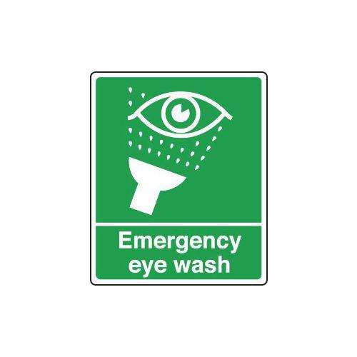 Sign Emergency Eye Wash 250x300 Polycarb