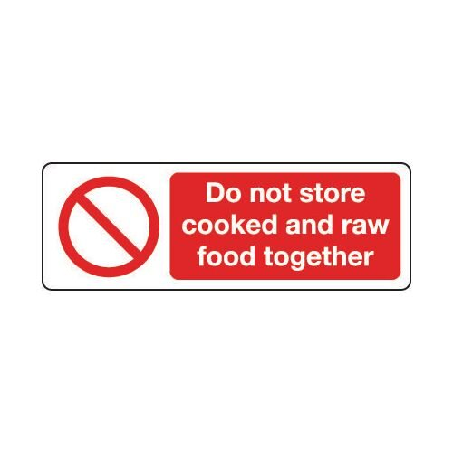 Sign Do Not Store Cooked &300x100 Polycarb