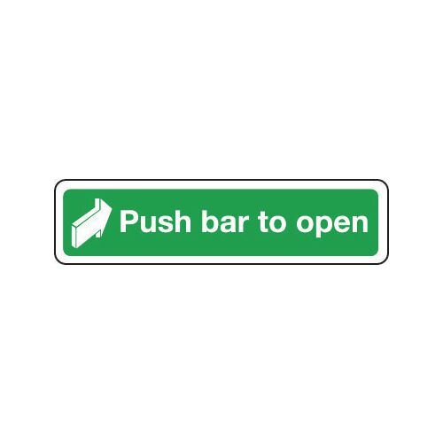 Sign Push Bar To Open 600x100 Polycarb