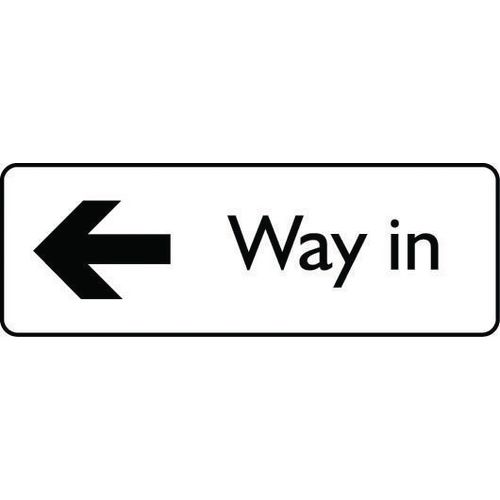 Sign Way In Arrow Left Polycarbonate 200X75 Black On White