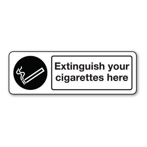 Sign Extinguish Your Cigarettes Polycarbonate 300x100