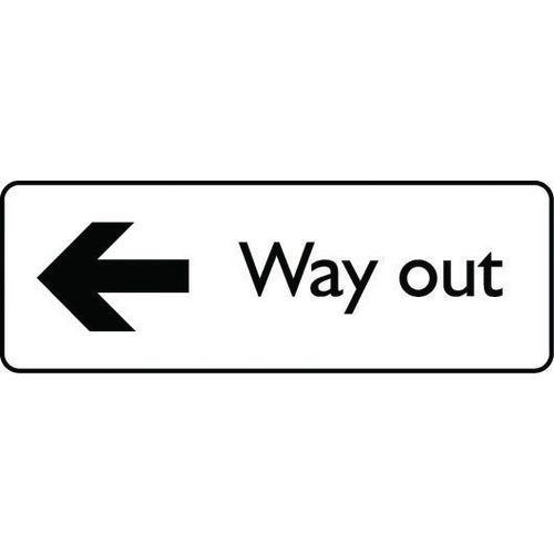 Sign Way Out Left Polycarbonate 450X150 Black On White