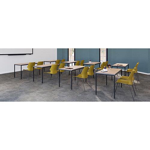Titan Table 600 x 600 x 710 - Beech Top / Black Frame
