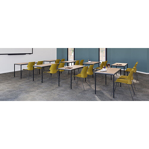 Titan Table 600 x 600 x 760 - Grey Top / Black Frame