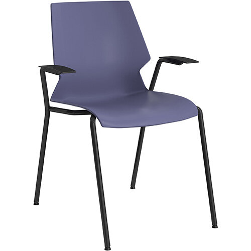 Titan Uni 4 Leg Classroom Chair with Arms 475mm Seat Height Grey Frame &Blue Seat