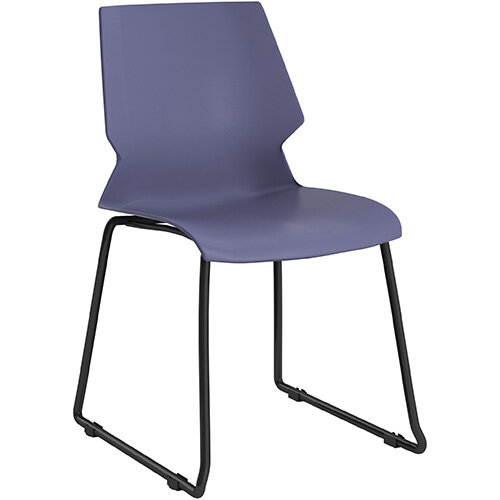 Titan Uni Skid Base Classroom Chair 475mm Seat Height Grey Frame &Blue Seat
