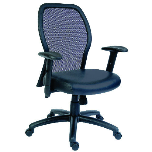 Mistral Executive Office Chair Mesh Back And Leather Faced Seat In Black