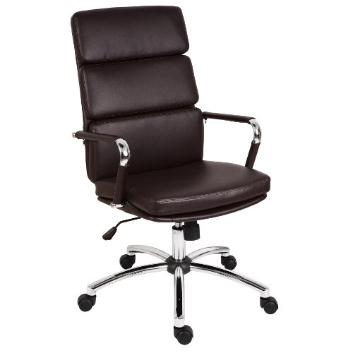 Deco Executive Faux Leather Office Chair In Brown