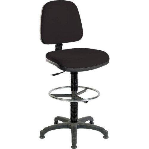 ERGO BLASTER Medium Back Draughter Chair H720 - 850mm Black Fabric Seat
