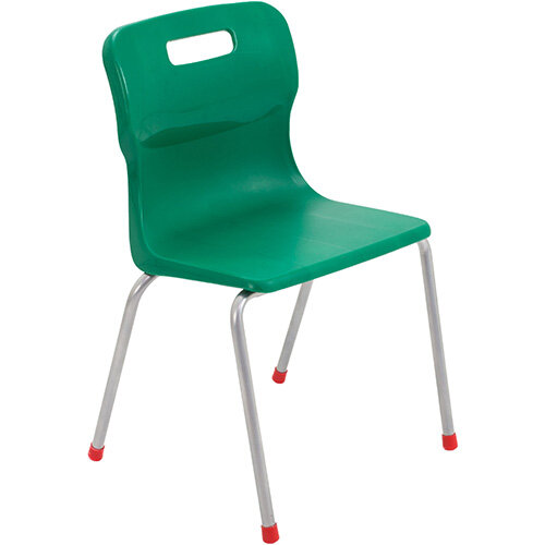 Titan 4 Leg Classroom Chair Size 4 380mm Seat Height (Ages: 8-11 Years) Green T14-GN - 5 Year Guarantee