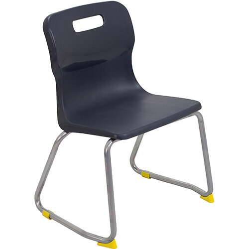 Titan Skid Base Classroom Chair Size 3 350mm Seat Height (Ages: 6-8 Years) Charcoal T23-C - 5 Year Guarantee