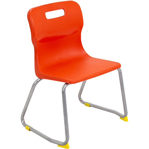 Titan Skid Base Classroom Chair Size 3 350mm Seat Height (Ages: 6-8 Years) Orange T23-O - 5 Year Guarantee