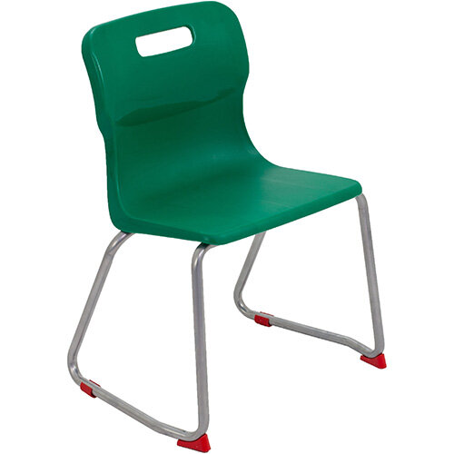Titan Skid Base Classroom Chair Size 4 380mm Seat Height (Ages: 8-11 Years) Green T24-GN - 5 Year Guarantee