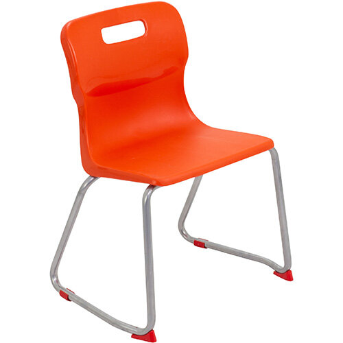 Titan Skid Base Classroom Chair Size 4 380mm Seat Height (Ages: 8-11 Years) Orange T24-O - 5 Year Guarantee